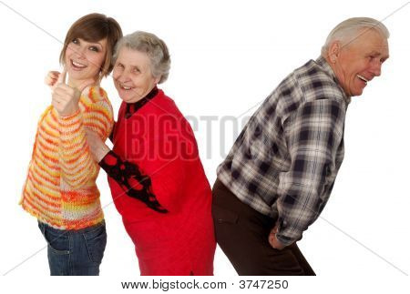 Happy Grandparents And Granddaughter Play Fool