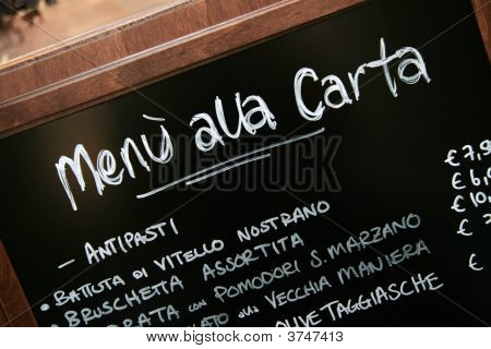 handschriftliche Menü