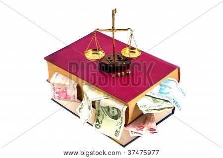 Justice Concept. Law, Scale, Money And Book