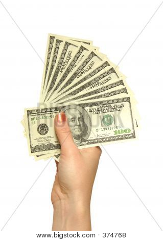 Girl's Hand With Dollars
