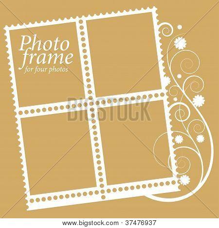 marco con elementos florales para cuatro fotos. Vector