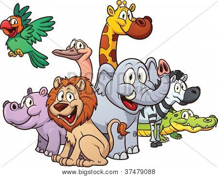 Cartoon safari animals. Vector illustration with simple gradients. All in a single layer.
