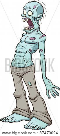 Screaming zombie. Vector illustration with simple gradients. All in a single layer.