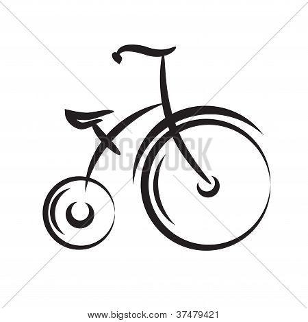 Bicicleta de highwheel antiguo. vector blanco y negro