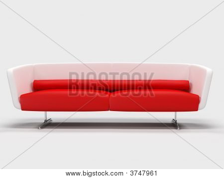 Red And White Sofa