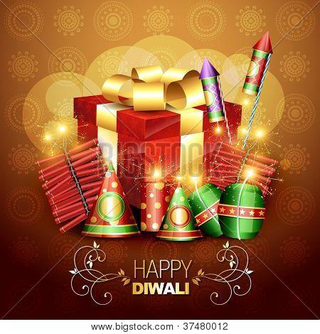beautiful diwali crackers background design illustration