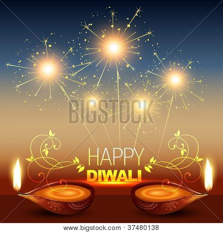 stylish diwali diya with fireworks