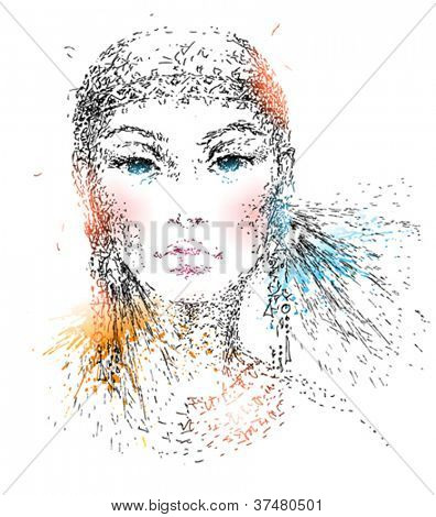 The young beautiful girl. Hand-drawn portrait made by a pen with colorful spots and sprays. Vector illustration.