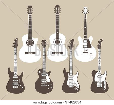 Vector silhouettes of acoustic and electric guitars