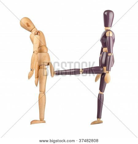 One Wooden Dummy Kicking Another