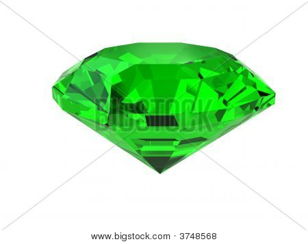 Dark-Green Gemstone Isolated On White