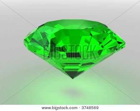 Dark-Green Gemstone Rendered With Soft Shadows