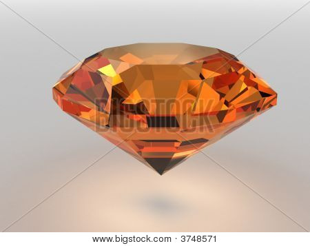 Dark-Orange Gemstone Rendered With Soft Shadows