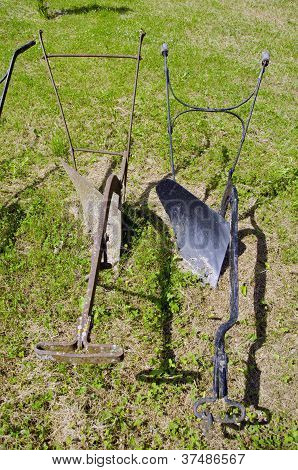 Two  Metal Manual Horse  Plow In Farm