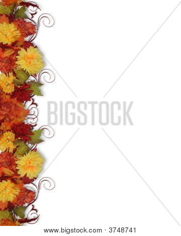 Thanksgiving Fall Leaves And Flowers Border
