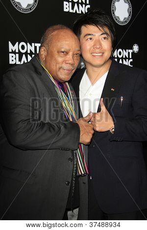 LOS ANGELES - OCT 2: Quincy Jones, Lang Lang at the Montblanc 2012 Montblanc De La Culture Arts Gala honoring Quincy Jones at Chateau Marmont on October 2, 2012 in Los Angeles, California