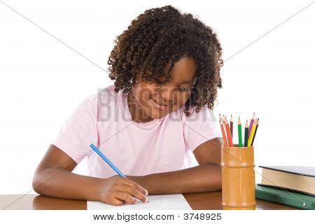 Adorable African Girl Writing