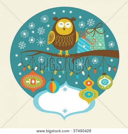 Cute owl on the branch, Greeting card