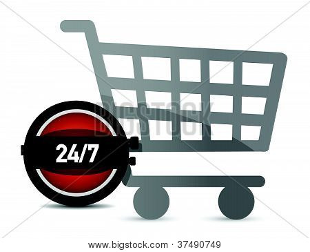 Time to shop illustration concept over white