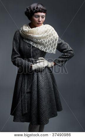 Fashion Model In Retro Garments - White Shawl, Gloves And  Coat