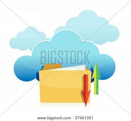 Cloud computing and folder upload illustration design
