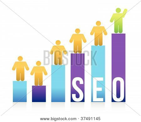 People and colorful seo graph illustration design