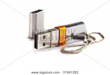 silver usb stick on white background