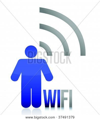 Blue wifi person icon illustration design over white