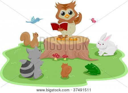Illustration of an Owl Standing on a Tree Stump While Reading a Book to Animals
