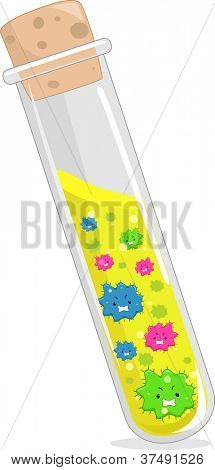 Illustration of Cultured Viruses Inside a Test Tube