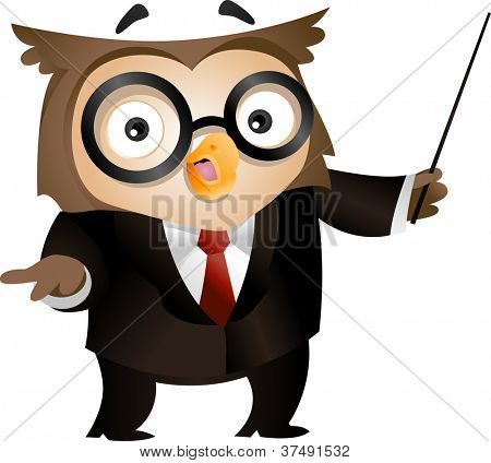 Illustration of an Owl Holding a Stick to Emphasize What He is Saying
