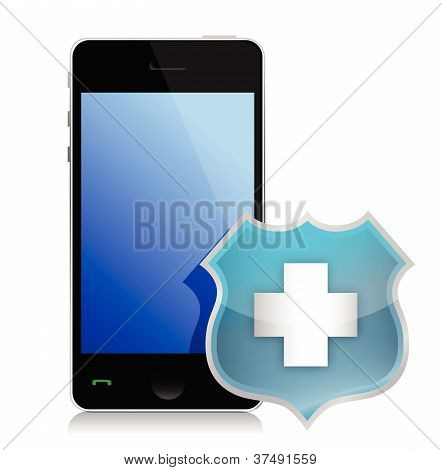 Phone protected by a shield of security illustration design