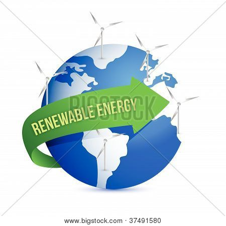 Renewal energy globe concept illustration design over white