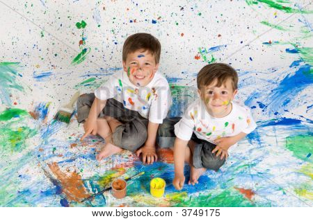 Children Playing With Painting