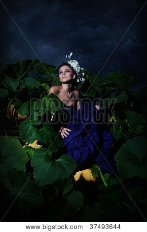 Nocturnal Scene - Cinderella In Pile Heap Of Ripe Pumpkins