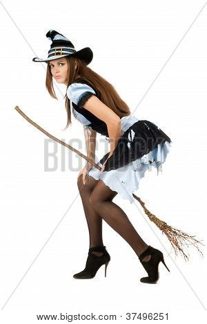 Beautiful Young Woman With A Besom