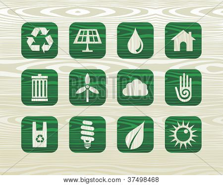 Environmental Green Icons In Organic Wood