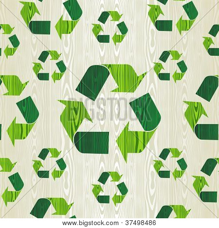 Wooden Recycle Arrows Seamless Pattern Background