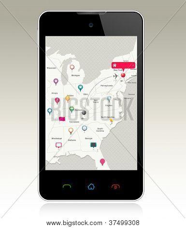 Telefone inteligente com pinos de mapa
