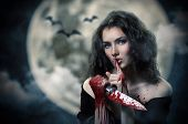stock photo of vampire bat  - Young beautiful witch - JPG