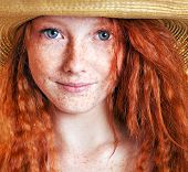 stock photo of freckle face  - Summer portrait - JPG
