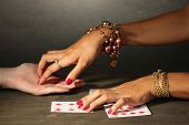 picture of palmistry  - reading the lines hand in a woman - JPG