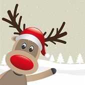 picture of rudolph  - rudolph reindeer red nose wave santa claus - JPG