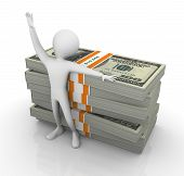image of ten thousand dollars cash  - 3d happy man standing with ten thousand dollar bills - JPG