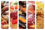 stock photo of cod  - a collage of nine pictures of different spanish tapas and dishes - JPG