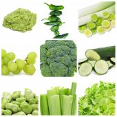 stock photo of escarole  - collage of nine different green food - JPG