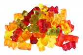 stock photo of gummy bear  - Assortment of colorful fruity Gummy Bears isolated on white background - JPG
