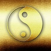 picture of karma  - Yin Yang sign with some highlights and reflections - JPG