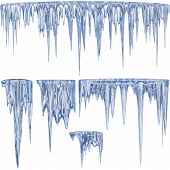 stock photo of icicle  - 5 blue shade thawing icicles with water droplets - JPG