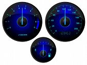image of speedo  - Modern blue speedometer tachometer and fuel gauge set - JPG